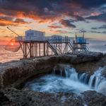 coucher de soleil sur carrelets, puits de l'Auture à St-Palais sur Mer