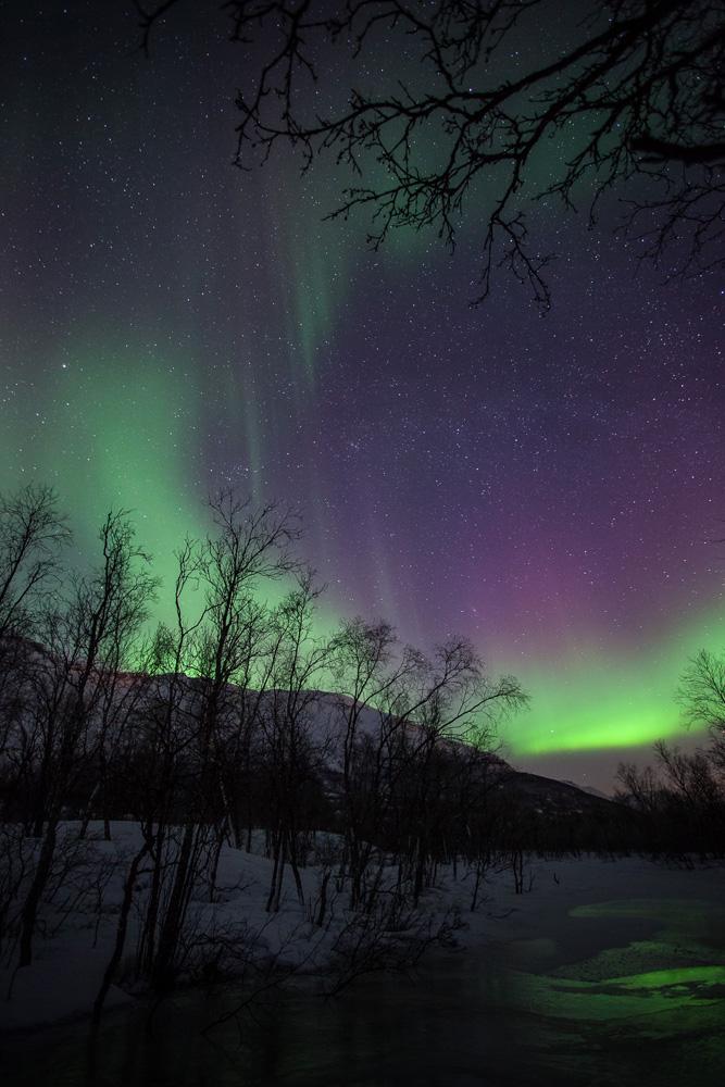 Photo d'aurores boréales sur une rivière gelée dans les Alpes de Lyngen, en Norvège