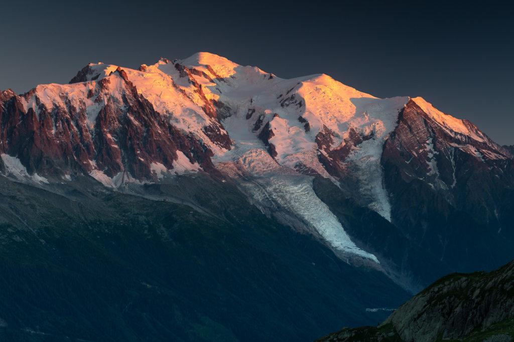 Fin de journée sur le Mont Blanc, pendant le stage photo Un balcon sur le Mont Blanc